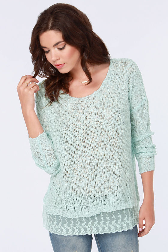 Cute Blue Sweater - Knit Sweater - Lace Sweater - $41.00