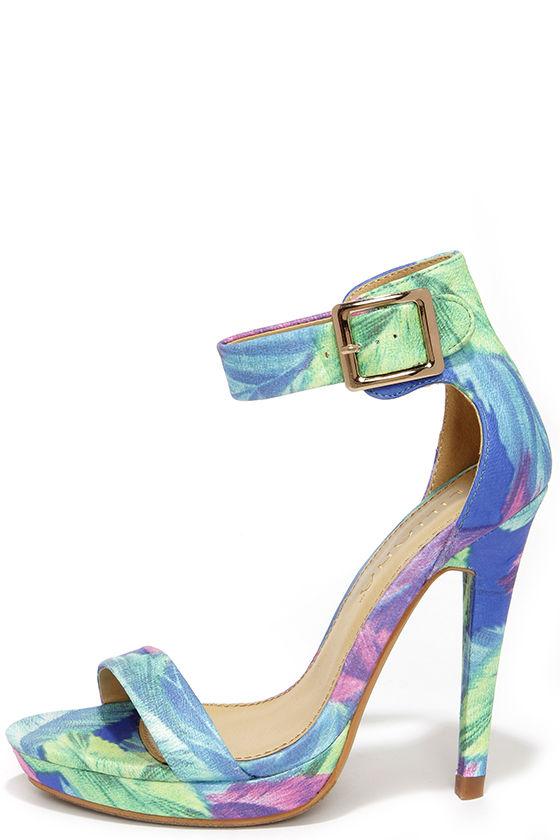 Cute blue heels floral print heels ankle strap heels 3800 junglespirit Images