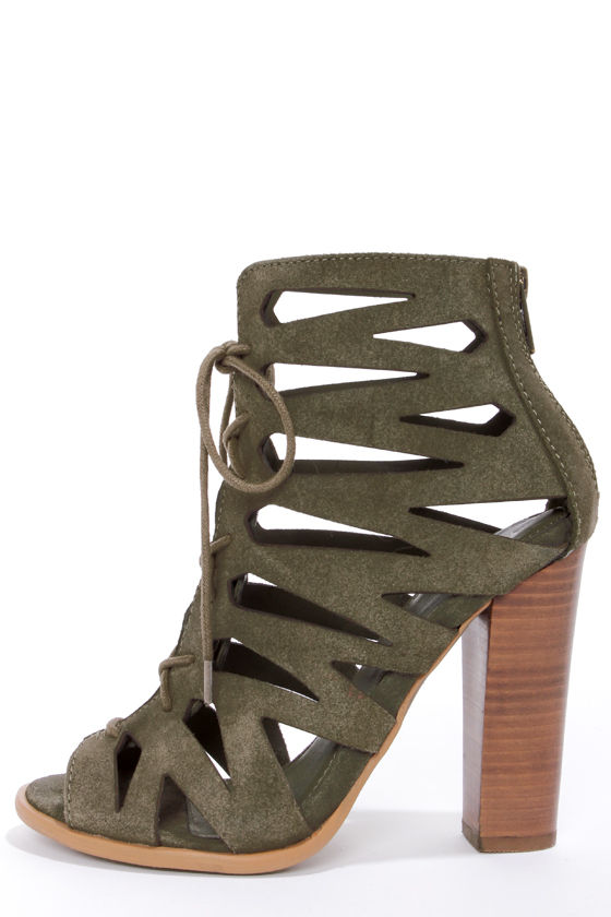 Mia Ira Spring Khaki Suede Lace-Up Peep Toe Heels at Lulus.com!