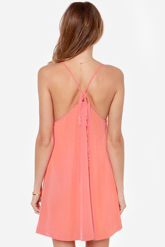 Amour the Merrier Peach Lace Dress at Lulus.com!