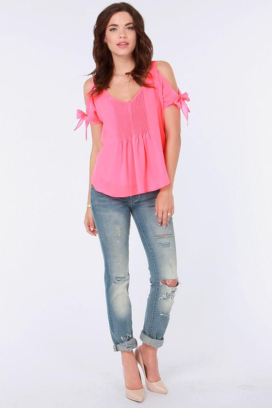 d39f02ec7b10d Cute Hot Pink Top - Off-the-Shoulder Top - Neon Top -  37.00