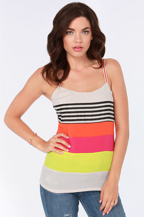 Take a Turn Neon Striped Tank Top at Lulus.com!