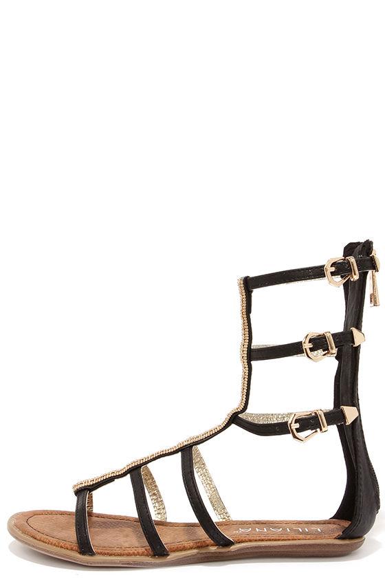 Cute Black Sandals - Beaded Sandals