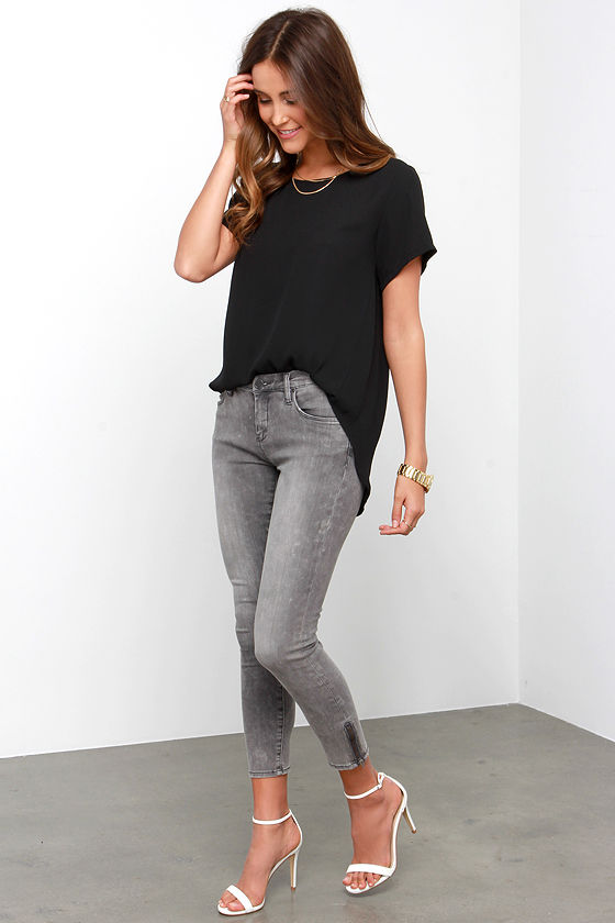Washed Grey Jeans - Ankle Skinny Jeans - Side Zipper Jeans - $79.00