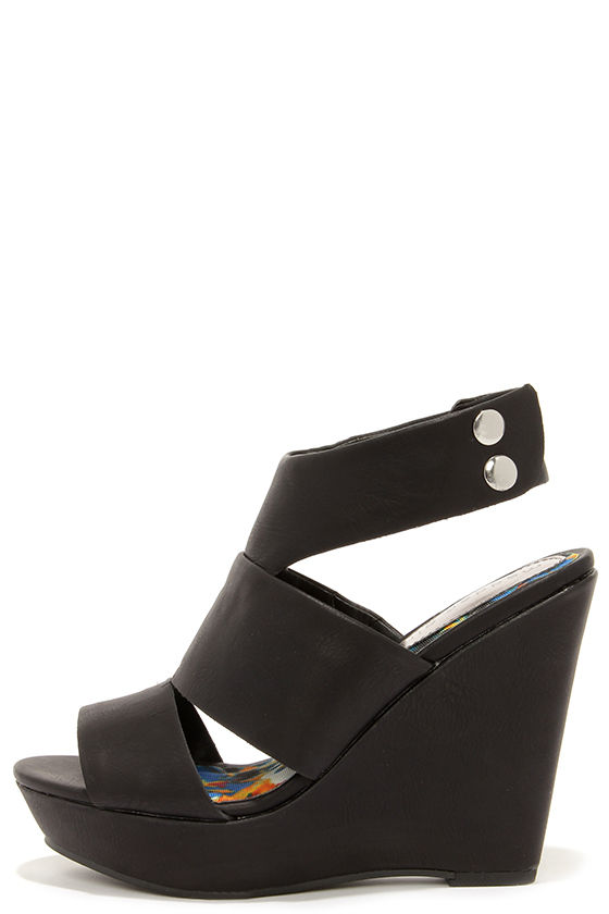 22d98337906 Madden Girl Kilterrr Black Wedge Sandals