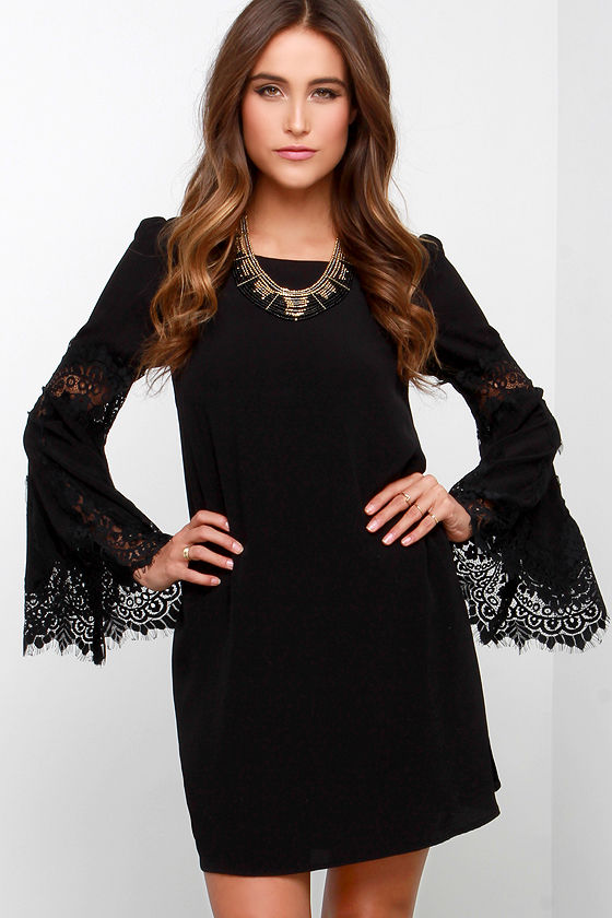 Cute Black Dress - Long Sleeve Dress - Lace Dress - $68.00