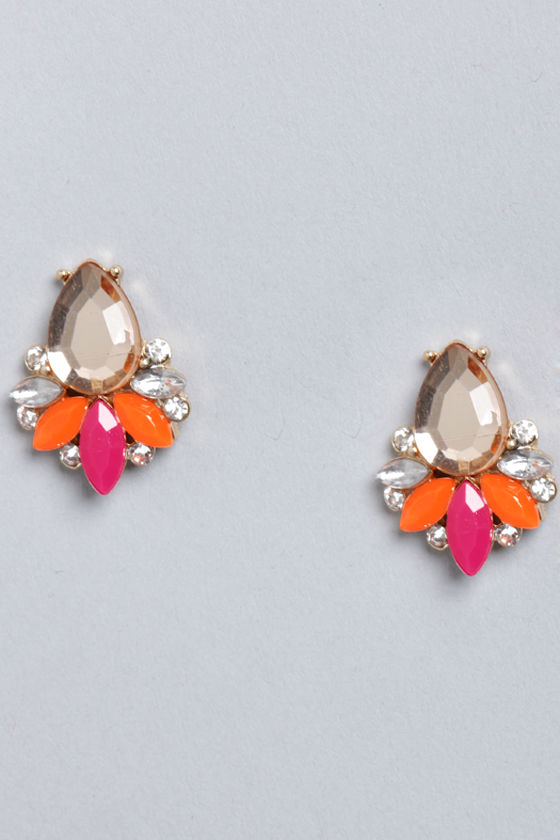 Play Ballroom Pink Rhinestone Earrings at Lulus.com!