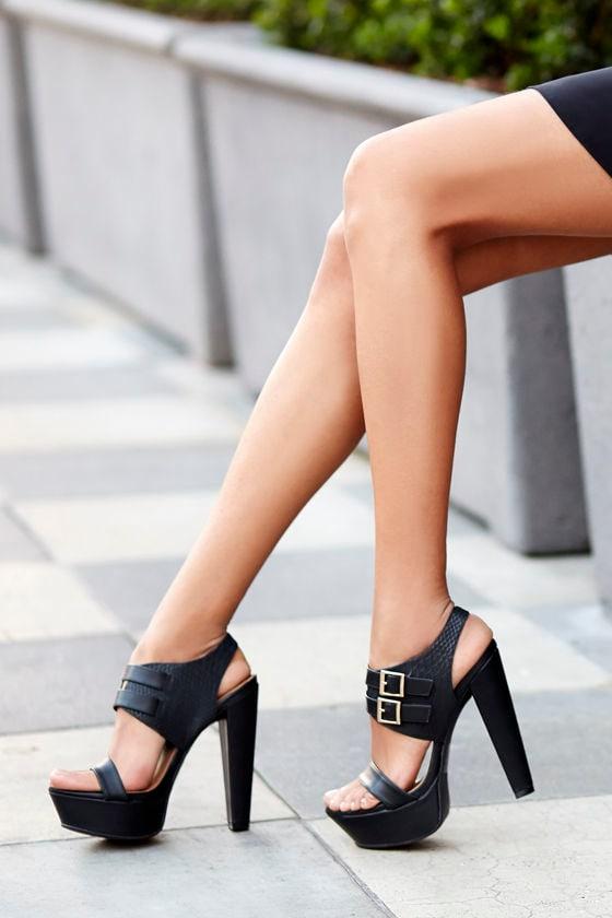 Sexy Black Heels - Platform Heels - Platform Sandals - $27.00