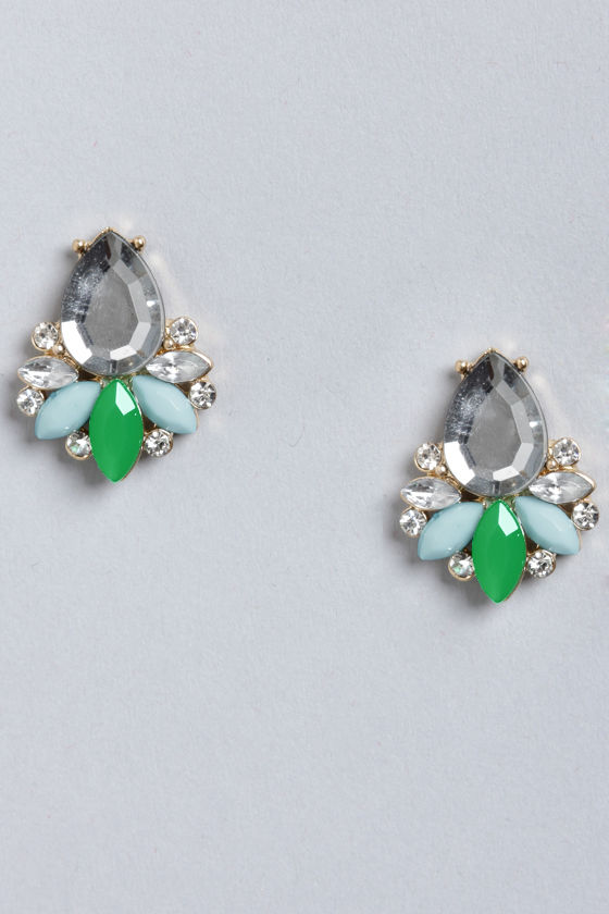 Play Ballroom Green Rhinestone Earrings at Lulus.com!