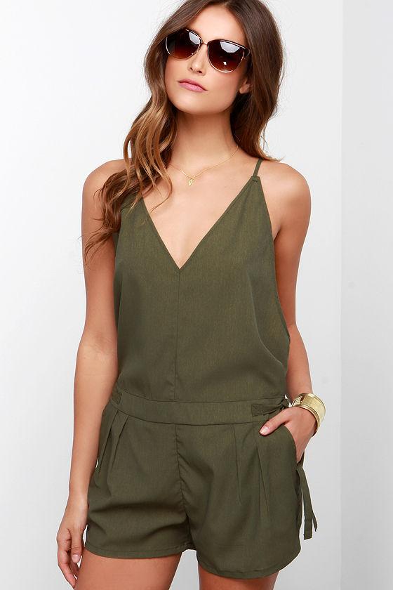 2e12f49ac859 Cute Olive Green Romper - Sleeveless Green Romper -  38.00