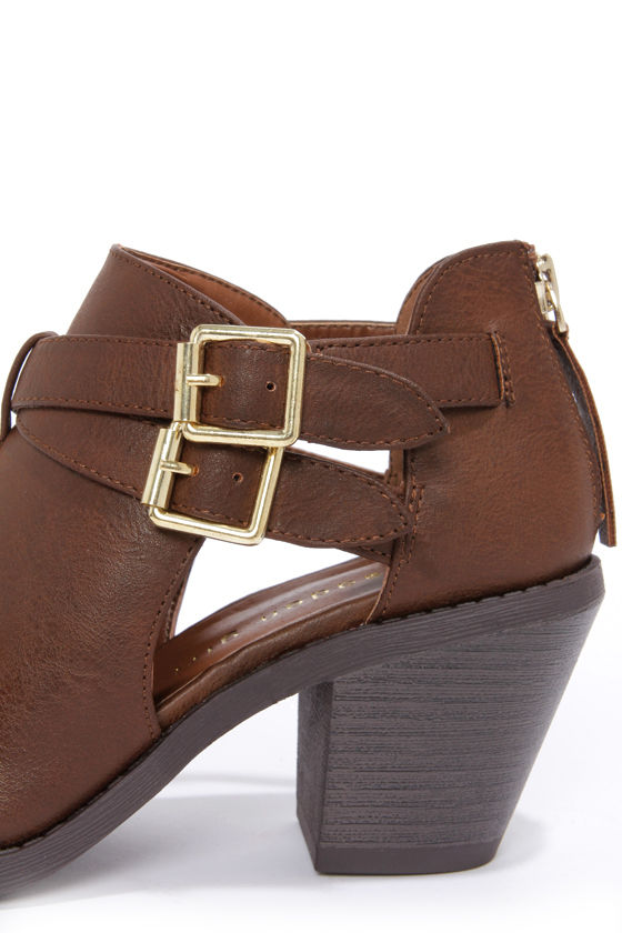 Madden Girl Genus Cognac Cutout Ankle Boots at Lulus.com!
