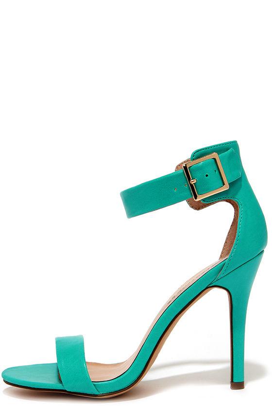 6f009fa37f79 Pretty Aqua Heels - Ankle Strap Heels - Single Strap Heels -  25.00