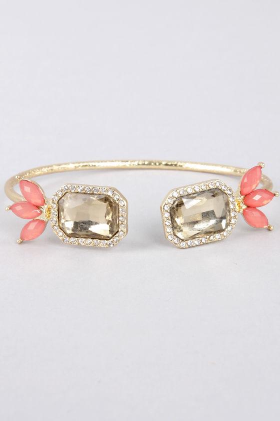 Endless Friend Coral Rhinestone Bracelet at Lulus.com!