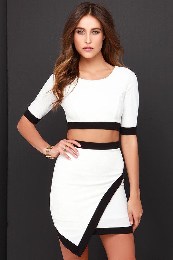 45a36a0ddb Two-Piece Dress - Black and Ivory Dress - Bodycon Dress - $49.00