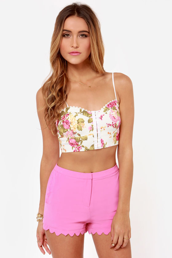 Flowers on End Floral Print Bustier Top at Lulus.com!