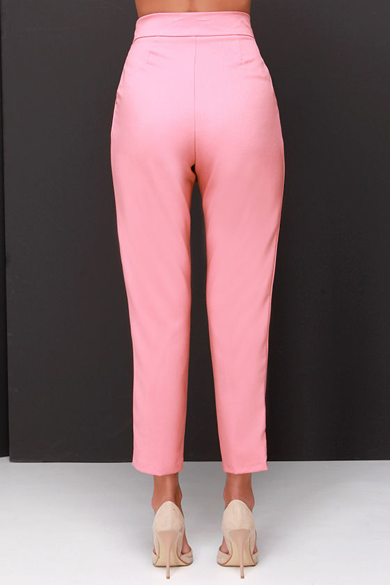Chic Pink Pants - High Waisted Pants - Blush Pink Trousers - $37.00