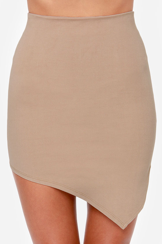 Breaking Point Asymmetrical Beige Skirt at Lulus.com!