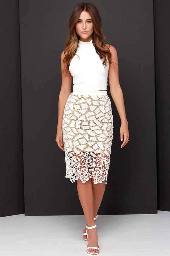Pretty Lace Skirt - Midi Skirt - Ivory and Beige Skirt - $40.00