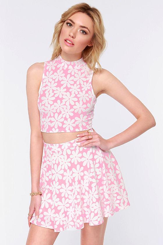 Cute Pink Top Crop Top Floral Print Top 3800