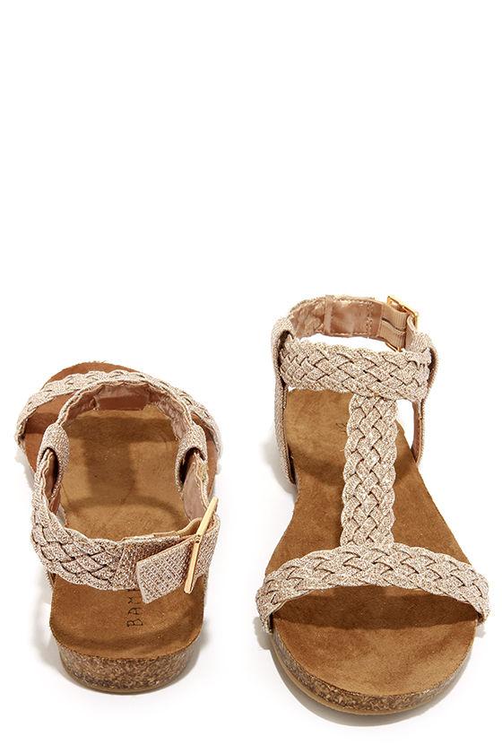 43da060e9a5c6 Cute Gold Sandals - Ankle Strap Sandals -  22.00