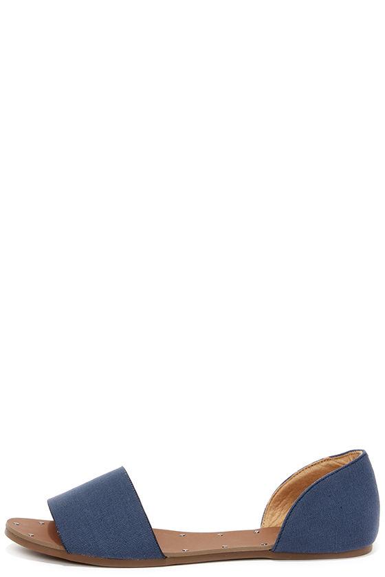 Atlantic Seaboard Denim Blue Peep Toe Flats 1