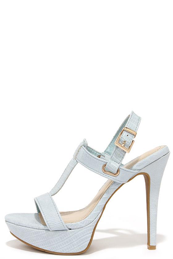 Cute Powder Blue Heels - High Heel Sandals - Dress Sandals - $36.00