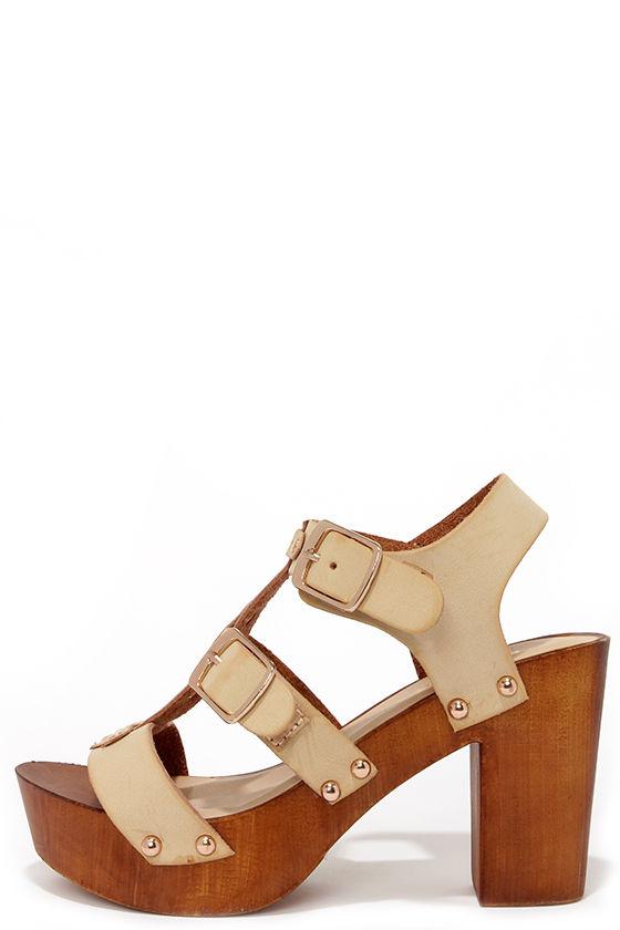 1249799dd7ccf Cute Beige Heels - High Heel Sandals - Caged Sandals -  34.00