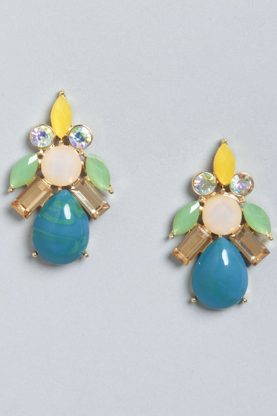 Looking for Bauble Blue Rhinestone Earrings at Lulus.com!