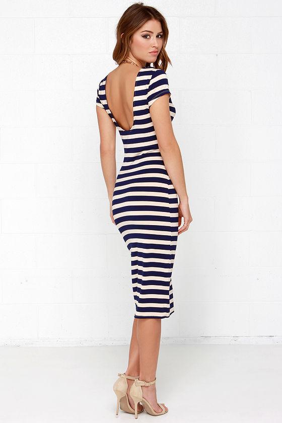 b5b3404eecf7 Chic Beige and Navy Blue Dress - Striped Dress - Midi Dress ...