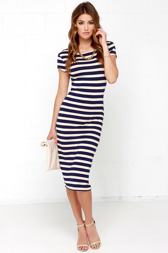 70d48a44a7 Chic Beige and Navy Blue Dress - Striped Dress - Midi Dress - Bodycon Dress  - $63.00