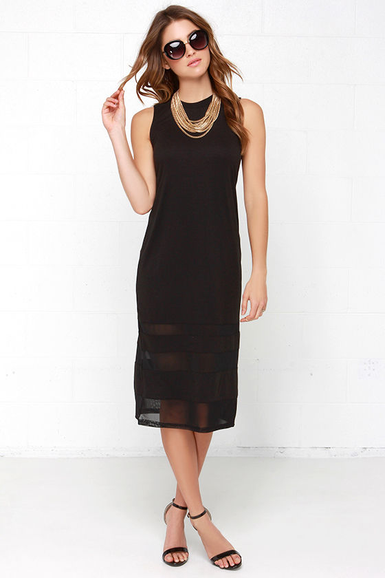 044f240e59 Chic Black Dress - Midi Dress - Shift Dress - Mesh Dress -  63.00