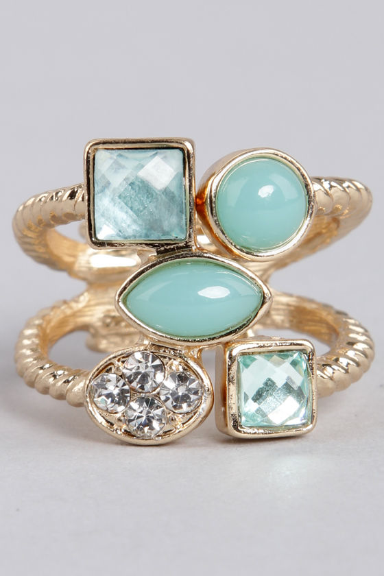 Better Shape Up Mint Rhinestone Ring at Lulus.com!