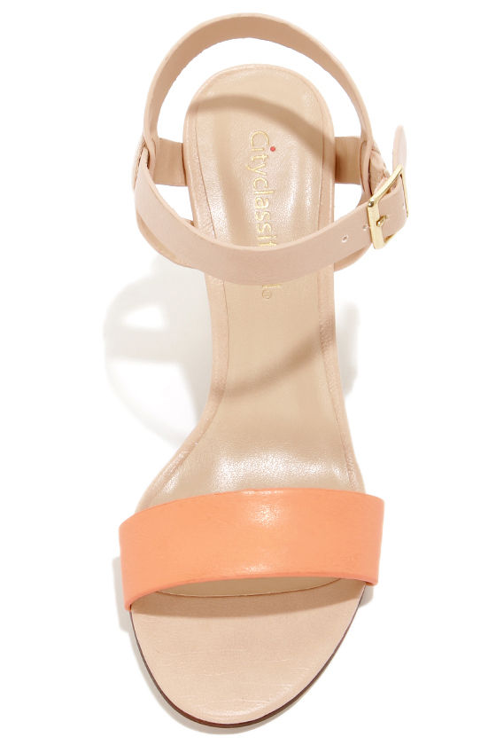 City Classified Space Peach and Blush High Heel Sandals at Lulus.com!