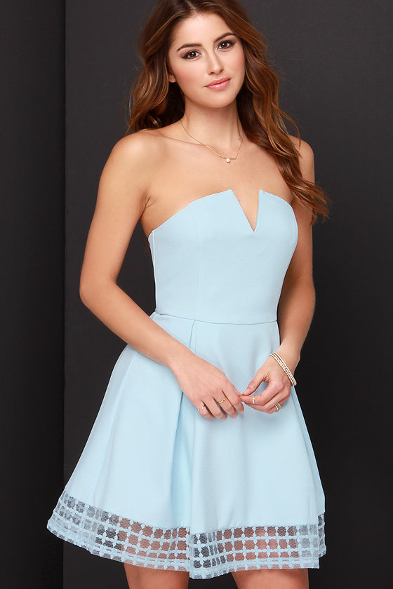 Pretty Light Blue Dress - Strapless Dress - Embroidered Dress - $56.00