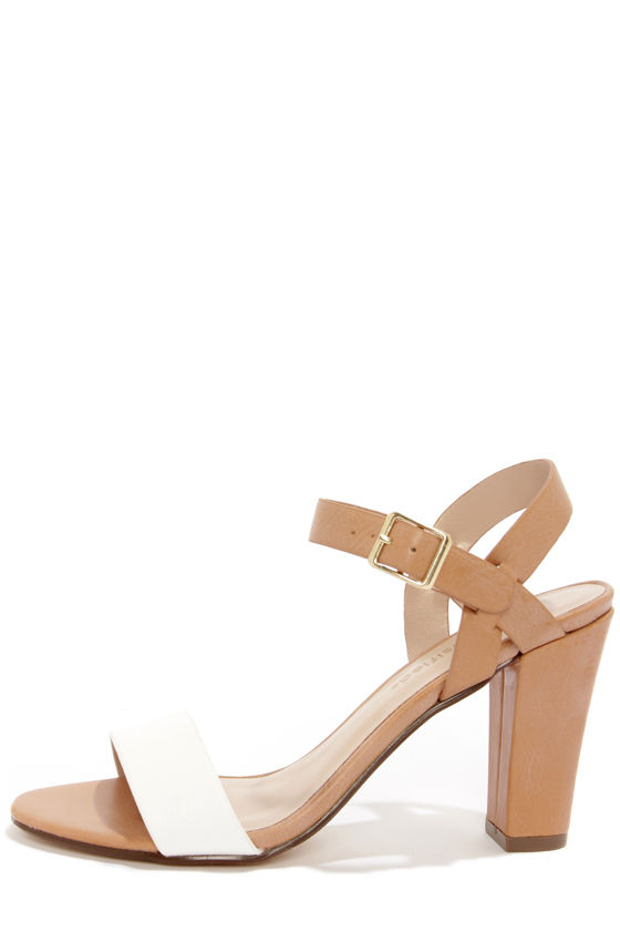 City Classified Space White and Light Tan High Heel Sandals at Lulus.com!