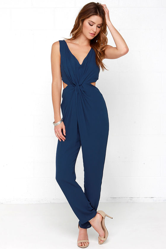 Chic Navy Blue Jumpsuit - Woven Jumpsuit - Sleeveless Jumpsuit ...