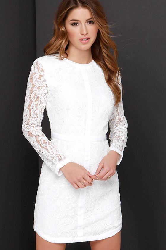 Long Sleeve Ivory Lace Dress