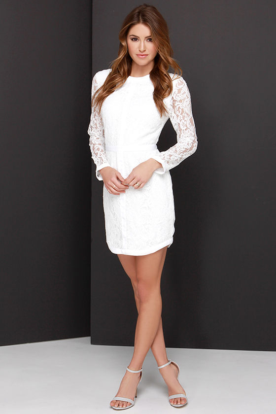 Pretty Ivory Dress - Long Sleeve Dress - Lace Dress - $126.00