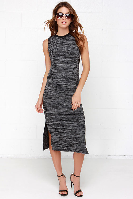265f65636d571 Black and Grey Dress - Sleeveless Dress - Midi Dress -  63.00