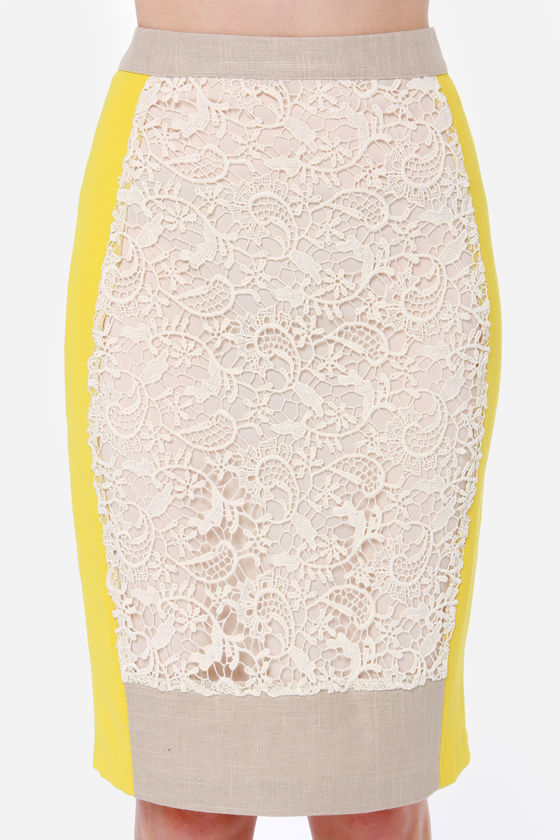 Modish Mixer Yellow and Cream Lace Skirt at Lulus.com!