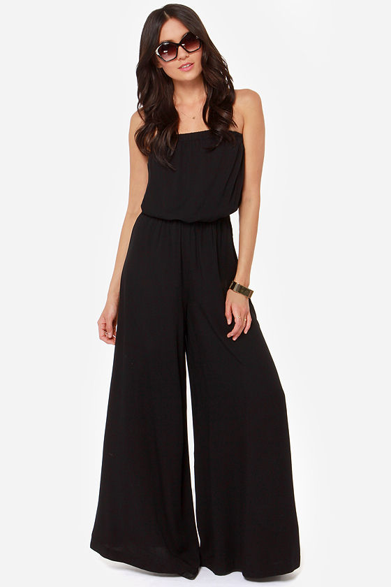 BB Dakota Nahal - Black Jumpsuit - Strapless Jumpsuit - Wide-Leg ...