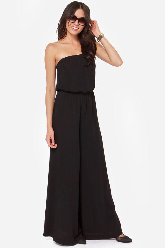 217da84fc6ea BB Dakota Nahal - Black Jumpsuit - Strapless Jumpsuit - Wide-Leg Jumpsuit -   83.00