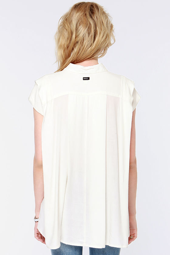 RVCA Chipper Ivory Top at Lulus.com!
