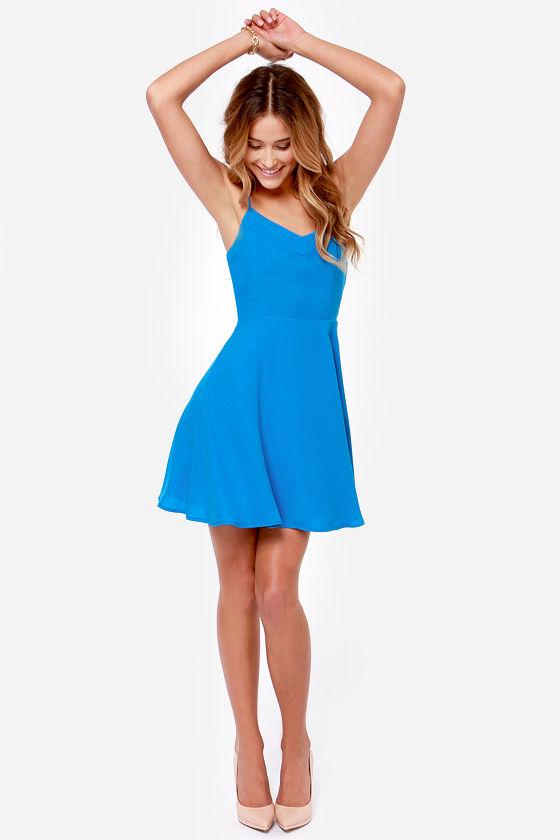 5d60115d145 Cute Blue Dress - Skater Dress - Sleeveless Dress -  45.00
