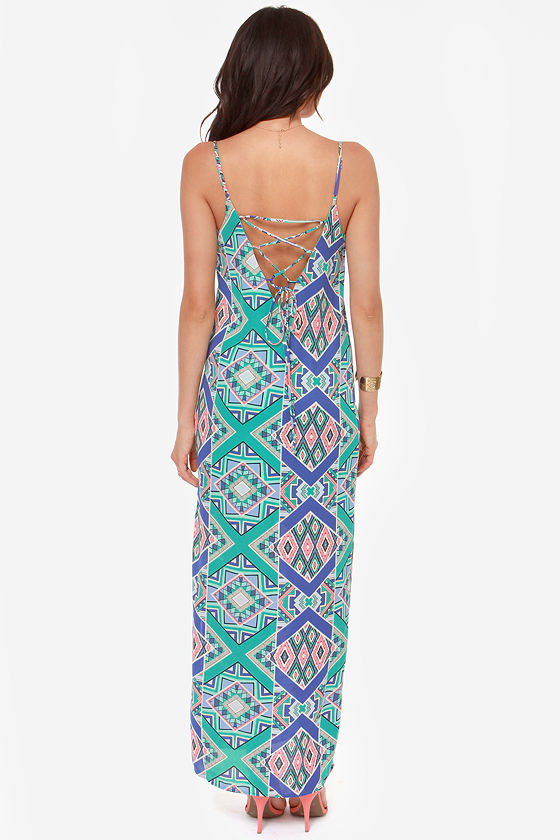 In Rad Shape Mint Print Maxi Dress at Lulus.com!