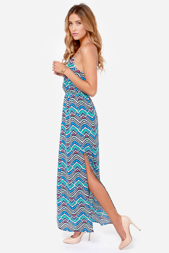 Always in Bubble Blue Print Maxi Dress at Lulus.com!