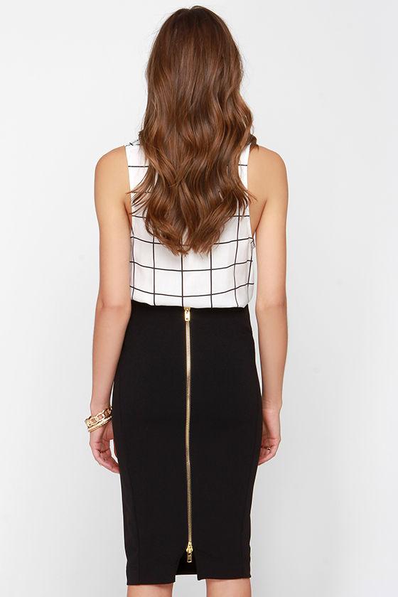 Black pencil skirt gold zip – Modern skirts blog for you