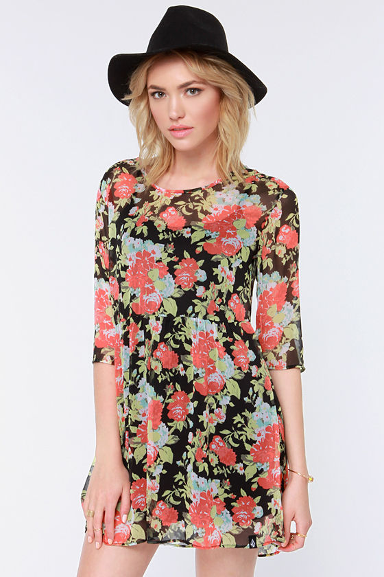 Volcom Rosebud Black Floral Print Babydoll Dress at Lulus.com!