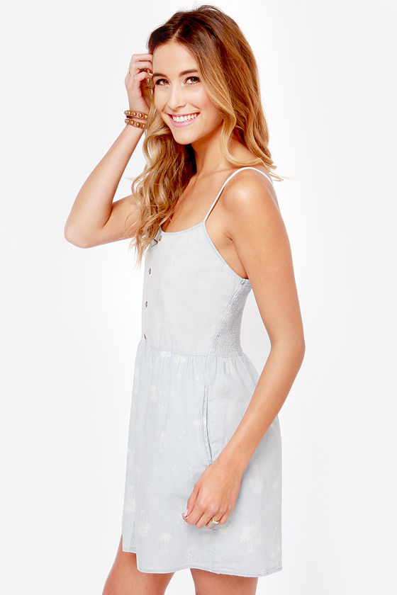 Volcom Weirdette Print Chambray Babydoll Dress at Lulus.com!