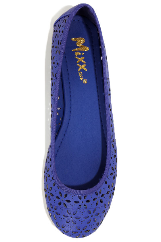 Mixx Shuz Flora Blue Cutout Ballet Flats at Lulus.com!